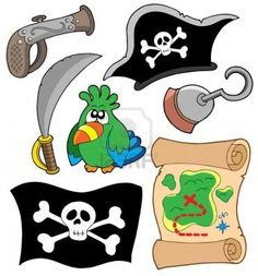 Pirate equipment collection - vector illustration. Stock Photo