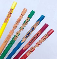 Handmade colored pencil with custom carved letters. This carved pencil art is suitable for birthday gifts // Pencils gift for everyone // Best friend gifts // Handmade gift for everyone // We personalized gift to your order! Personalized Pencils, Personalized Gifts, Handmade Gifts, Custom Made Gift, Customized Gifts, Best Friend Gifts, Gifts For Friends, Pencil Carving, Custom Pencils