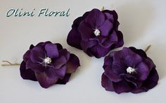 Set of 3 Small Purple Flowers with Rhinestones Hair Pins $29.99 Handmade by Olinibridal.com in US