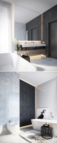 | INTERIOR + BATHROOMS | Lovely use of bringing the mirrors to the ceiling to provide a visual extension to the ceiling. Complimentary use of dark stone meets light stone. #marble slabs to reduce grout lines