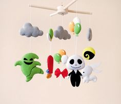 Nightmare Before Christmas Baby Mobile Hanging Decorations Baby Shower Gift Nursery Mobile Baby Room Decor Newborn Baby Gift New Baby Gift Crafts Newborn Room, Newborn Baby Gifts, New Baby Gifts, Cool Ideas, Nightmare Before Christmas, Halloween Bebes, Halloween Christmas, Mobiles, Goth Baby