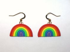 Rainbow Earrings,Colorful Rainbow Earrings,Pride Earrings,Rainbow Charm,Polymer Clay,Gold,Rainbow Je