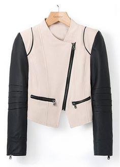 Black and Khaki Color Blocking Long Sleeve Jackets