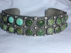 RARE-OLD-PAWN-STERLING-ALL-TURQUOISE-WHIRLING-LOGS-BRACELET