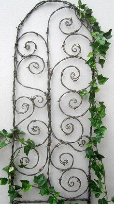 Beautiful Spirals Barbed Wire Trellis Garden Art by thedustyraven, $57.00