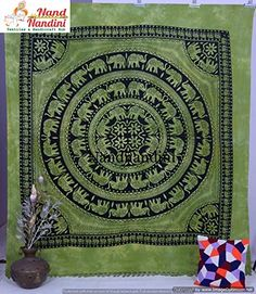 2de8df565b Beautiful Green Base on Black Indian Screen Printed Cotton Bedspread  Tapestry in Elephant Print. This gorgeous piece of art can be used as  -Tapestry