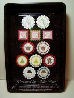 """Cute gift tags. Stampin' Up! Supplies:    Stamps: Merry and Bright, Spotlight on Christmas, Deer Friends    Assorted Card Stock & Ink    Punches: Scallop circle, 1 3/8 & 1 1/4"""" Circle, Scallop Square, 3/4"""" Square"""