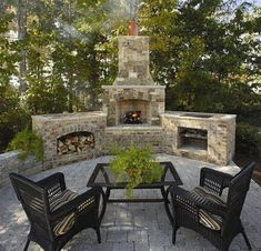 Outdoor Rooms: Triad New Home Outdoor Brick Fireplace Outside Fireplace, Backyard Fireplace, Brick Fireplace, Outdoor Rooms, Outdoor Living, Outdoor Decor, Outdoor Patios, Outdoor Fireplace Designs, Outdoor Fireplaces