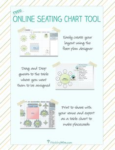 FREE online seating chart planner, make copies to go over with parents and in-laws!  Make notes for special needs of a guest, vegetarian, allergies, etc...