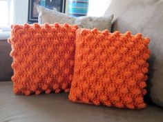 crochet popcorn pillows (orange) by bshorrhandmade, via Flickr