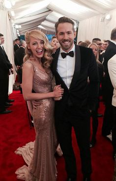 Blake Lively and Ryan Reynolds on the red carpet at the 2014 Met Gala Source: Twitter user voguemagazine