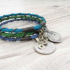 Gypsy tribale Bangle Stack, seta di Sari avvolto, bracciali di accatastamento, Cool Blue, l'insieme della via della seta