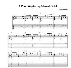 A Poor Wayfaring Man of Grief Guitar Sheet Music http://www.ldshymns4guitar.com/wp-content/uploads/2011/08/Hymn-A-Poor-Wayfaring.pdf