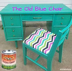 Love this bright look by The Old Blue Chair, https://www.facebook.com/TheOldBlueChair?fref=ts.  This chair and desk were painted with GF Patina Green Milk Paint.  You can find your favorite GF products at Woodcraft, Rockler Woodworking stores or Wood Essence in Canada. You can also use your zip code to find a retailer near you at http://generalfinishes.com/where-buy#.UvASj1M3mIY.  #generalfinishes #gfmilkpaint #paintedfurniture #bold