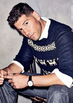 Ready for his close-up, Jon Bernthal wears a Dries Van Noten sweater with a J.Crew shirt and BOSS pants. John Bernthal, Dog Hair Bows, Fc B, Gq Magazine, Portraits, Poses, Celebs, Celebrities, Punisher