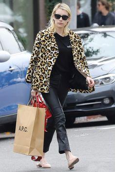 Emma Roberts in a coat and Coach Babushev Nicholas Kirkwood in Los Angeles