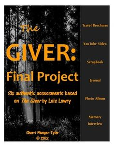 """This authentic assessment allows students to choose from 6 different projects as a culminating activity to """"The Giver"""" by Lois Lowry! Each project includes writing, artwork, and a huge amount of creativity, making this hands-on, collaborative assessment a beautiful addition to student portfolios! Grading Rubric, Learning Objectives, Teaching Tips, and Common Core Standards all included. $9.60"""