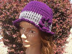 Adult / teen lady's hat snow hat crochet hat by Yarnhotoffthehook Shark Hat, Snow Hat, Ski Hats, Flower Hats, Fabric Gifts, Hat Crochet, Plum Color, Beanie Hats, Hats For Women