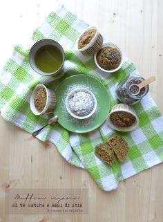 muffin vegani al tè matcha e semi di chia
