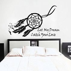 Dream Catcher Wall Decal Native American Feathers Bedroom Wall Sticker - Wow this is exactly what I want above my bed Native American Bedroom, Native American Decor, Wall Painting Decor, Wall Art Decor, Wall Sticker, Wall Decals, Vinyl Decals, Wall Mural, Bedroom Wall