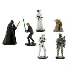 Star Wars Figure Playset Includes Darth Vader Luke Skywalker Princess Leia Yoda Boba Fett and Stormtrooper >>> Visit the image link more details. Walt Disney, Disney Play, Disney Toys, Star Wars Cake Toppers, Darth Vader Figure, Best Christmas Toys, Original Movie, Original Trilogy, Star Wars Toys