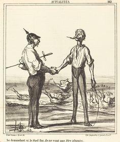 Se demandant si, le duel fini, ils ne vont pas etre plumes | Honoré Daumier, Se demandant si, le duel fini, ils ne vont pas etre plumes (1866)
