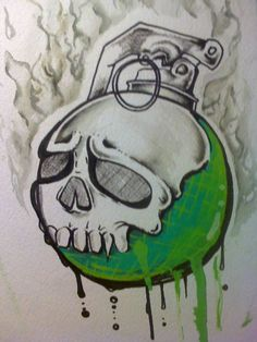 Greenade by ShadowGRO on DeviantArt Greenade by… – Graffiti World Tattoo Design Drawings, Cool Art Drawings, Art Drawings Sketches, Hard Drawings, Graffiti Alphabet, Graffiti Lettering, Cartoon Art, Cartoon Drawings, Graffiti Characters