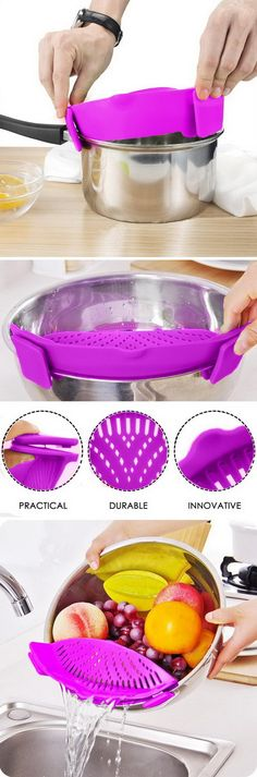 This Genius Silicone Strainer That Fits Basically Every Sized Pot You Have