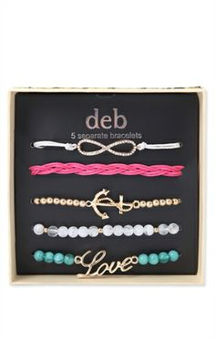 Deb Shops Five Piece Mixed Friendship Bracelet Set with Infinity Sign and Anchor $7.74