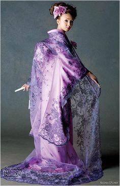 Purple silk and lace Scena D'uno wedding kimono