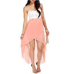 WhitePeach Strapless Hi Low Dress