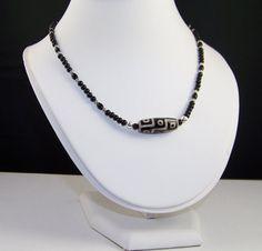 Tibetan Agate Dzi Bead Necklace Strung on Black by HoneyBeeHouse, $20.00