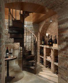 spiral staircase wine cellar in kitchen | Spiral staircase into wine cellar