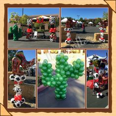 Wild West Theme balloon decor. Red, Black, Cowboy print square balloon arch, center piece, column w/boots topper and cactus balloon sculpture. #Balloonsville