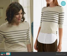 Heather's striped shoulder button top on Life in Pieces.  Outfit Details: https://wornontv.net/84497/ #LifeinPieces