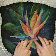 """Felt woman handbag is handmade in the technique of wet felting, which creates a """"watercolor"""" effect. Felted shoulder bag is made from natural wool with metal frame and chain. Wet Felting Projects, Felting Tutorials, Nuno Felting, Needle Felting, Felt Pictures, Frame Purse, Watercolor Effects, Felt Art, Felt Animals"""