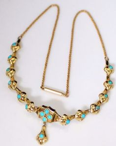 Antique-Victorian-14k-Gold-Persian-Turquoise-Necklace-16-7-3-Grams
