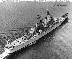 USS Columbus Baltimore-class heavy cruiser underway on March the photo is signed by Admiral Arleigh A. Go Navy, Royal Navy, Uss Salem, The Last Ship, Heavy Cruiser, Naval History, Military Pictures, Military Diorama, Big Guns