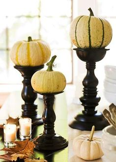 Easy Fall and Halloween Idea - slam a few mini pumpkins onto your existing candleholders, and don't forget a candle@ Dinner Party Decorations, Decoration Table, Halloween Decorations, Autumn Decorations, Halloween Designs, Outdoor Decorations, House Decorations, Pumpkin Centerpieces, Thanksgiving Centerpieces
