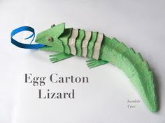 Craft Idea and Upcycling for Kids: Gecko / Chameleon from Egg Carton - Tulpens. Craft Idea and Upcycling for Kids: Gecko / Chameleon from Egg Carton – Tulpenstengel – Kids Crafts, Toddler Crafts, Projects For Kids, Diy For Kids, Craft Projects, Craft Ideas, Toddler Toys, Egg Carton Art, Egg Carton Crafts