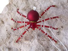 Lovely Beaded Christmas Spider Ornament -- Red/Clear