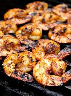 Recipe For Grilled Caribbean Jerk Shrimp 2 ways - When grilled on the plank, the shrimp cook slower and turn out a bit saucier, with a hint of smoke. Grilling Recipes, Fish Recipes, Seafood Recipes, Great Recipes, Cooking Recipes, Favorite Recipes, Cooked Shrimp Recipes, Cooking Cake, Cooking Steak