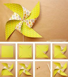 Como-hacer-molinillos-de-papel-que-gira-DIY–paper-Pinwheels How-to-make-paper-mills-that-turns-DIY – paper-Pinwheels Preschool Crafts, Fun Crafts, Diy And Crafts, Arts And Crafts, Paper Crafts Origami, Diy Paper, Paper Art, Diy For Kids, Crafts For Kids
