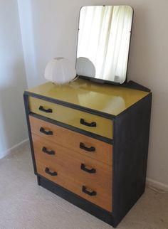 Upcycled G Plan Dressing Table Chest Of Drawers Bureau Writing Desk With Mirror