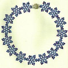 Beaded Snowflake necklace PATTERN колье из цветков