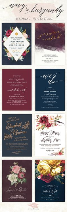 Gorgeous navy and burgundy wedding invitations