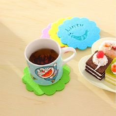 Wool felt coaster set. Different design and colors give you new experience of wool felt coaster. Four coasters in a set.