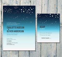 Printed Card - 50-170 Sets - Romantic Night Sky and Stars Wedding Invitation and Reply Card Set - Wedding Stationery - ID164