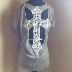 Crochet Cross Back Blouse - $23