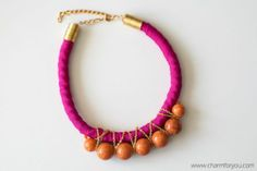 Pink-orange handmade necklace